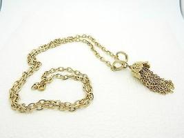 VTG KRAMER Signed Gold Tone Chain Tassel Choker Necklace - $29.70