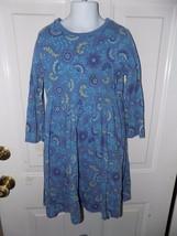 LANDS' END Blue Floral/Paisley Cotton Knit  Long Sleeve Jumper Dress Siz... - $17.94