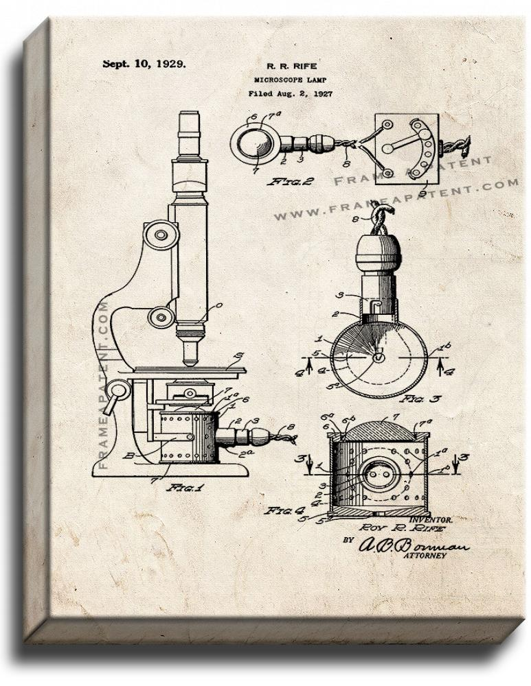 Primary image for Microscope Lamp Patent Print Old Look on Canvas