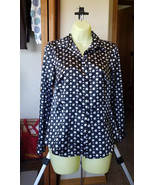 shiny womens blouse white black polka dot top long sleeves top button sh... - $3.99