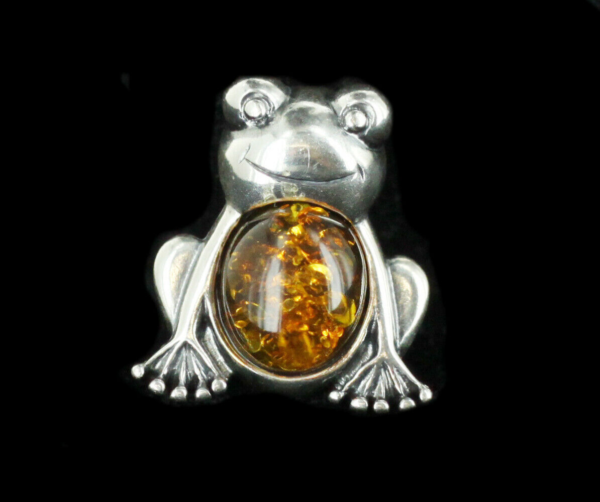 Primary image for Vintage Russian Sterling Silver Smiling Frog 1.6ct Sun Spangled Amber Pin
