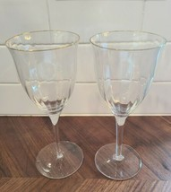 "Set of 2 Gorham LAURIN GOLD Optic Crystal Wine Glasses 7 1/4"" - $43.56"