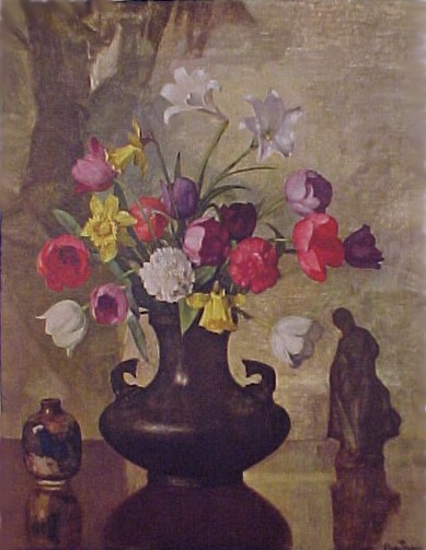 Primary image for Vintage 1940s Litho Art Print Floral Bouquet Lithograph