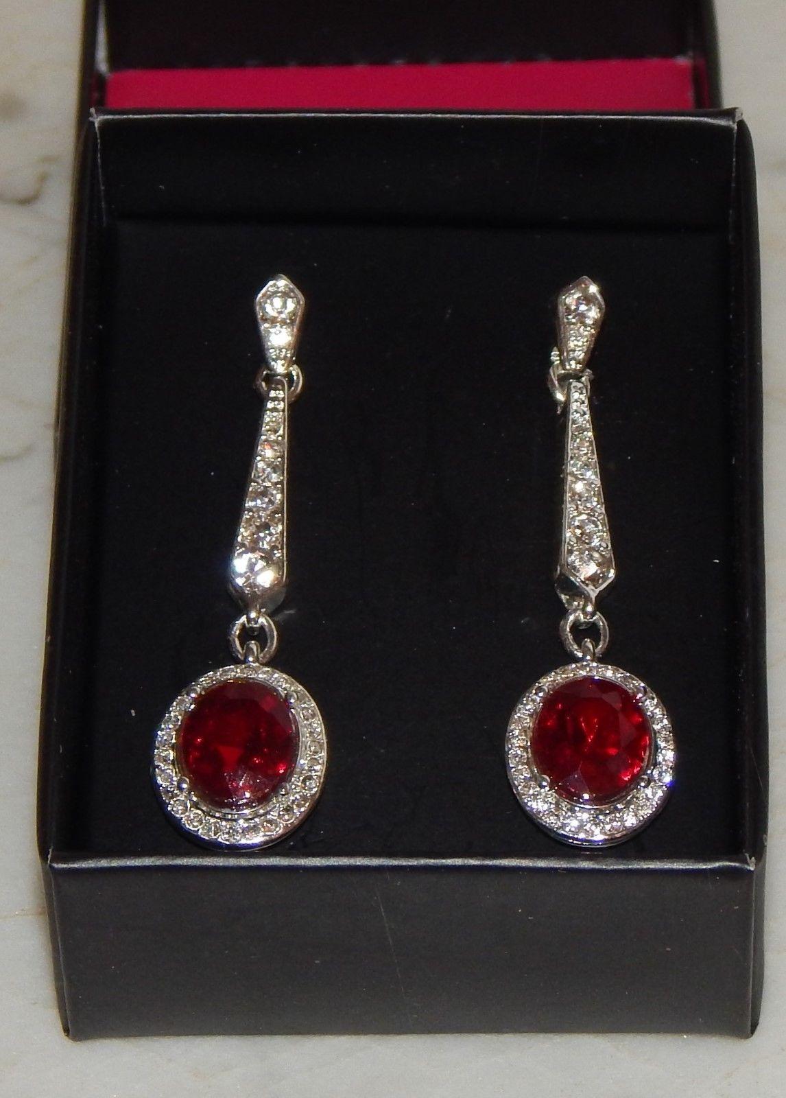"""Ravishing Red Silvertone Drop Dangle Earrings by Avon - Nickel-free 1 1/4"""" L"""