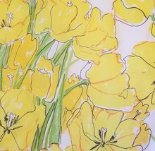 Bright Yellow Floral Twin Size VTG Percale Sheet Fitted - $12.99