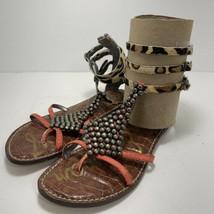 Sam Edelman Real Fur Animal Print Coral Ginger Studded Gladiator Strap Sandals 6 - $22.74