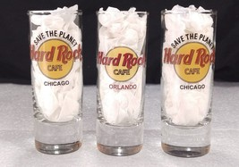3 Hard Rock Cafe Tall Shot Glass Orlando Red Lettering Chicago Save Planet - $24.23