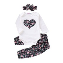 Casual Clothes 3PCS Newborn Baby Girl Clothes Sets Top Romper Floral Pan... - $12.99