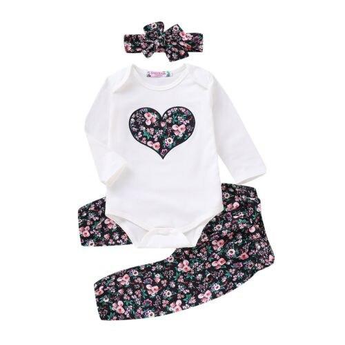 Casual Clothes 3PCS Newborn Baby Girl Clothes Sets Top Romper Floral Pants Headb
