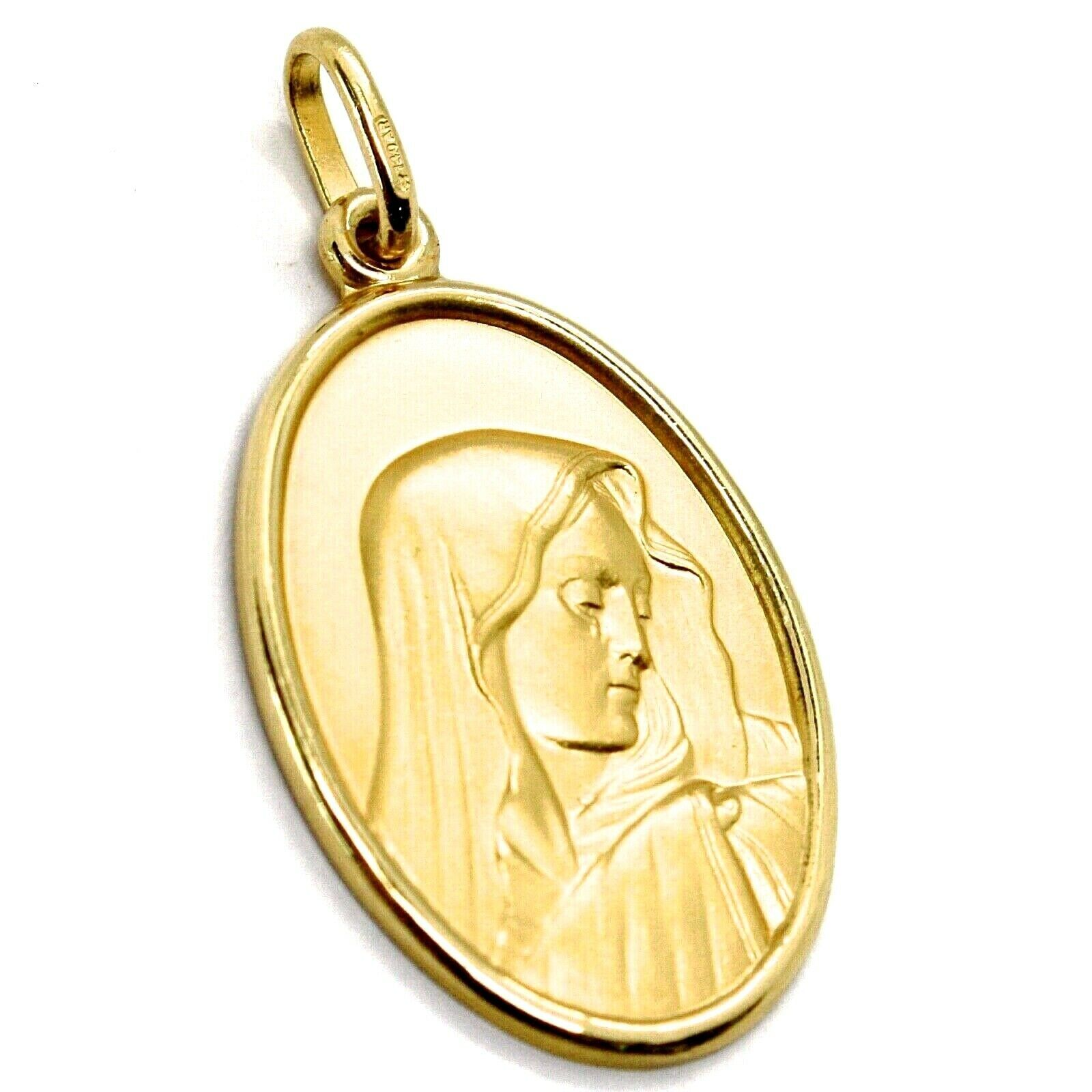 SOLID 18K YELLOW GOLD OUR LADY OF SORROWS, 24 MM OVAL MEDAL, MATER DOLOROSA