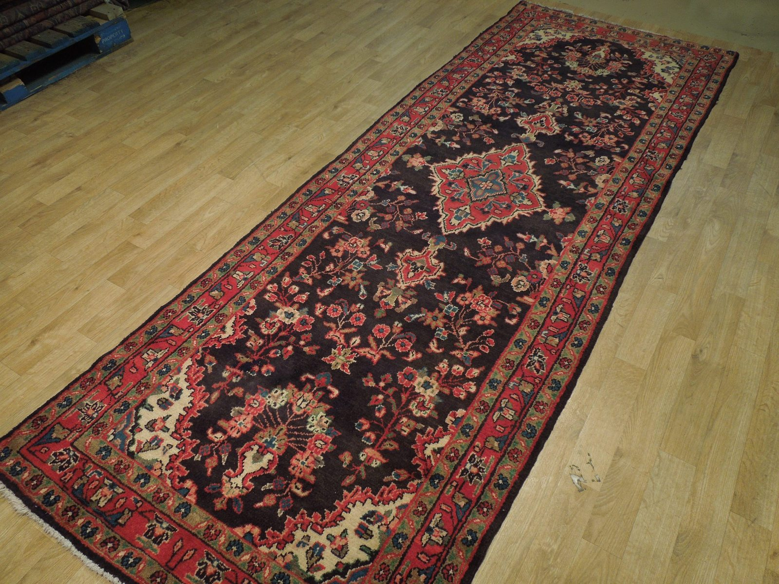 Tribal Wide Gallery Runner Persian Genuine Handmade 4x10 Black Sarouk Wool Rug image 5