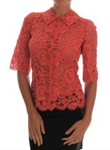Orange Crystal Buttons Floral Lace Blouse - $621.00