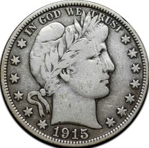 1915D Silver Barber Half Dollar Coin Lot A 320