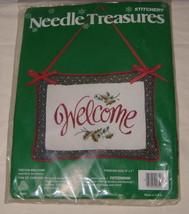 "Festive Welcome Crewel Embroidery Kit Stitchery Needle Treasures 9""x7"" 00851 - $16.82"