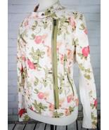 LANE BRYANT Floral Moto Jacket Size 18 Green White Pink Asymmetric Zipper - $48.51