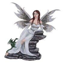 Large Fantasy Fairy with White Dragon Figurine Fairyland Legends Decorat... - £85.84 GBP