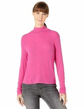 Splendid Women's 2x1 Long Sleeve Mock Neck Tee T-Shirt, Pink Nebula, Lar... - $32.71