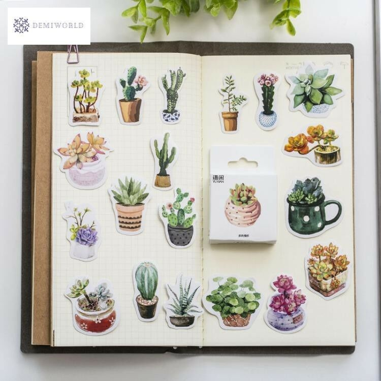 50 Pcs/pack Green Succulents Plants Decorative Adhesive Sticker Tape Kids Craft