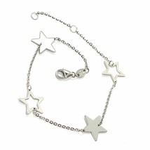 18K YELLOW WHITE GOLD OVAL ROLO BRACELET WITH ALTERNATE FLAT STARS, ITALY MADE image 1