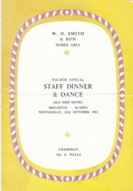 W.H. Smith & Son Sussex Area 4th Annual Staff Dinner & Dance 1961 Card R... - $7.59