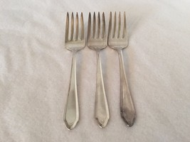 3 National Silver NS Co Silverplate Salad Fork Forks 20954 - $23.09