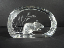 RARE Mats Jonasson Field Mouse Crystal Sculpture Paperweight Signed 8262 - $60.00