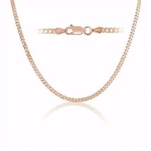 Rose Gold Plated Sterling Silver Curb Link Chain Necklace 3mm Italy 18 Inch - $68.38