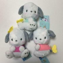 Sanrio Pochacco Pastel Color Butterfly Plush Doll 3 Set Mascot 16cm  - $61.74