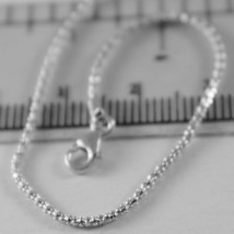 18K WHITE GOLD CHAIN MINI BASKET ROUND LINK 1 MM WIDTH 15.75 INCH MADE IN ITALY image 2
