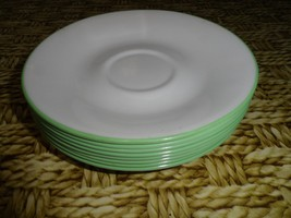 "Corelle plate saucer white mint green trim rim replacement Plates 6"" - $5.87"