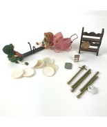 Lot of Vintage Doll House Miniatures metal baby carriage wood shelf - £12.17 GBP