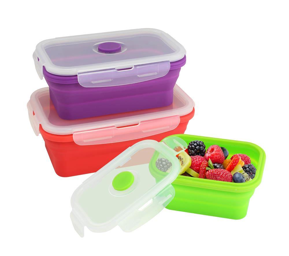 3 piece set collapsible silicone stacking food containers for 3 pieces cuisine