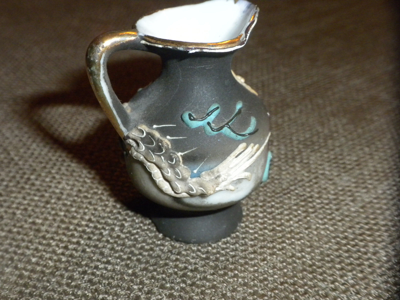 Primary image for Miniature Hand Painted Bisque Pitcher / Jug w Gold trim, raised dragon design