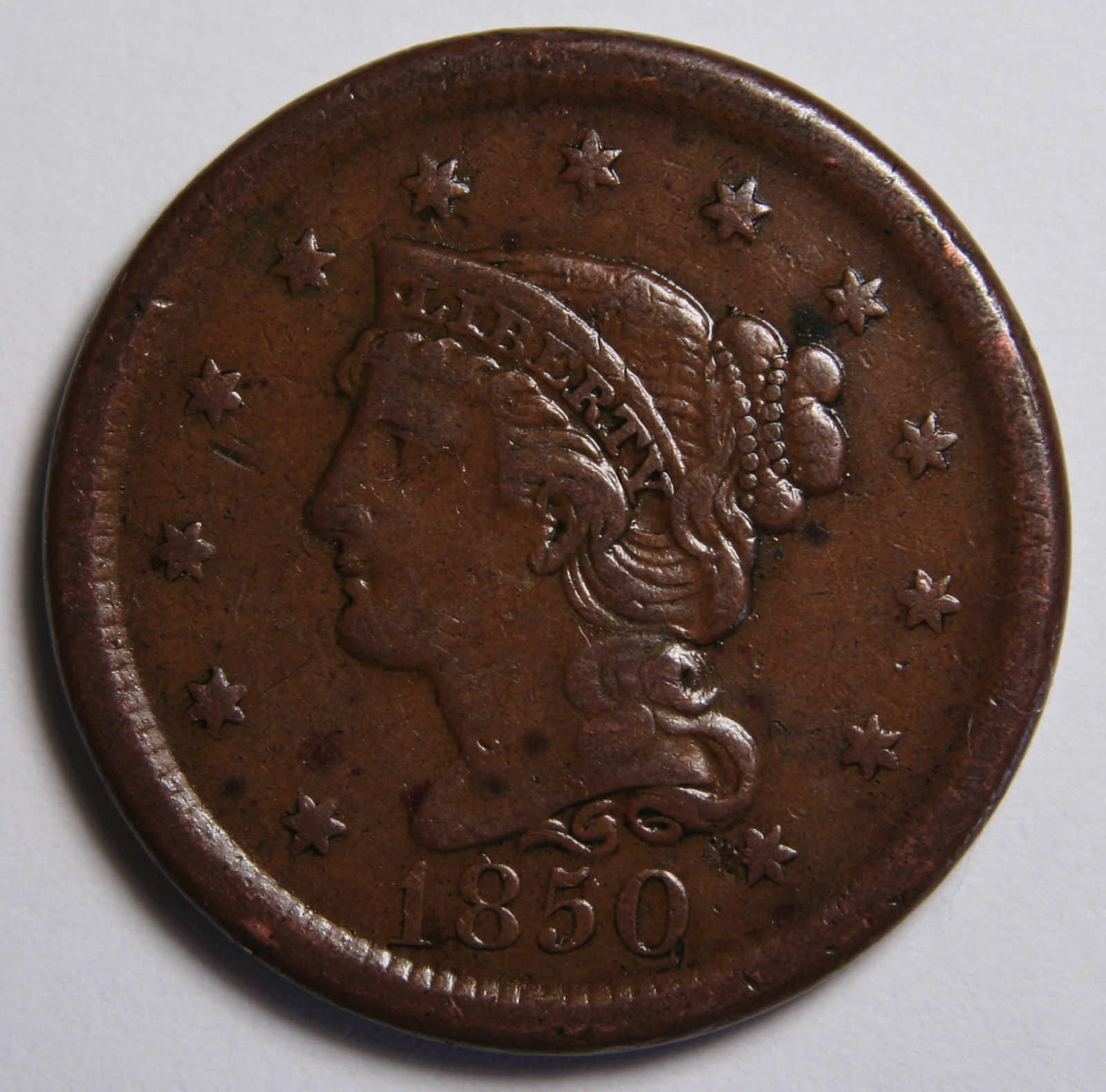 1850 Large Cent Liberty Braided Hair Head Coin Lot # MZ 4099