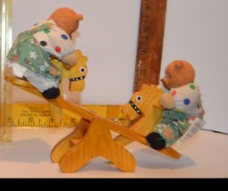 Max & Maxime Resin Bears On A Wooden Seesaw w/Horse Heads UNIQUE Movable!! - $13.58