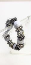Large Bead Stretch Bracelet Vintage Floral Beads Purple Crazed Beads - $11.69