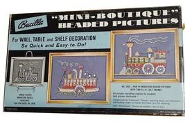 Vintage Bucilla Beaded Picture Train Steamship, Mini Boutique Sewing Cra... - $19.39