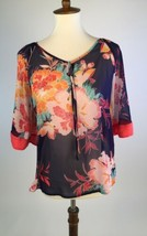 Express Womens Blouse Top Small Blue Floral Tie Neck 3/4 Kimono Sleeve A... - $11.52