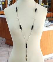 Collier Argent 925, Agate Larmée, Perles, Longue 85 cm, Chaîne Rolo, Gou... - $230.64