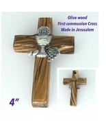 Olive wood first communion Cross gift Pewter Jerusalem Cruz primera comu... - $12.75