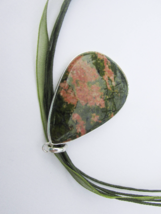 Adorable Pink and Green Unakite Pendant, 925 Silver, Immune System Stone - $28.00