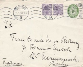 DENMARK 1923 STATIONARY ENVELOPE WITH  ADDITIONAL STAMPS , COPENHAGEN CA... - $8.38