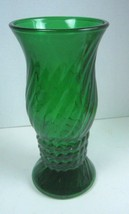 "Vintage EO Brody Indiana Glass Emerald Green Ribbed Vase 9 1/2"" Tall - $9.27"