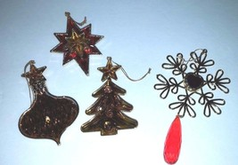 Vintage 4 piece Lot Christmas ornaments Gold, Red, Tree, Star, Snowflake... - $14.03