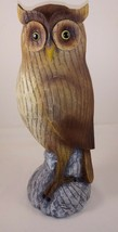 "Large HOOT OWL Sitting on a Tree Stump 12"" Resin Figurine - $34.64"