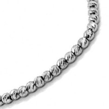 """18K WHITW GOLD CHAIN FINELY WORKED SPHERES 2 MM DIAMOND CUT BALLS, 18"""", 45 CM image 2"""