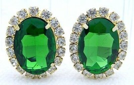 VTG Large Gold Tone Green Clear Rhinestone Clip Earrings - $49.50