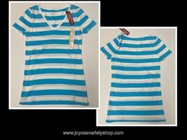 Merona Blue & White Striped Long T-Shirt Soft 100% Cotton Juniors Variou... - $7.99