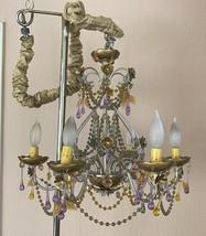 Vintage Tole Colored Crystal Chandelier Gilt flowers leaves Drops gold c... - $420.75