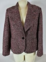TALBOTS womens petites Sz 10P L/S pink black SILVER METALLIC lined jacke... - $29.99
